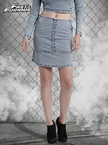 roadster fast and furious blue denim pencil skirt