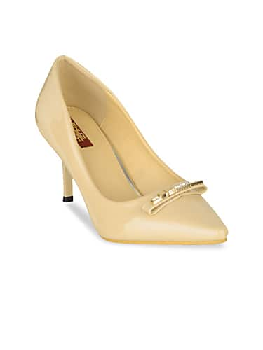 shuz touch women beige solid pumps