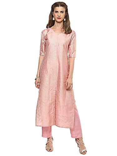 go for ahalyaa v neck faux silk brocade print pink kurta