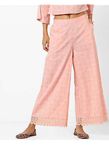 go for ajio mid-rise palazzos with lace trims
