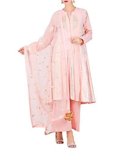 go for mukesh embroidered kalidar kurta with pleated pant & dupatta