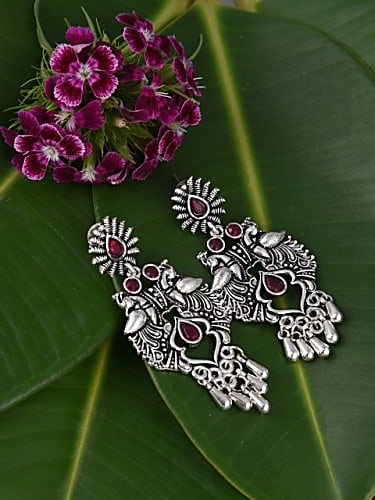 firoza oxidised silver-toned  maroon stone-studded peacock handcrafted drop earrings