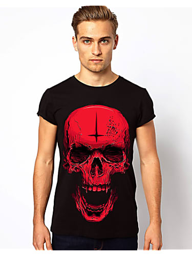 go for punk men's short sleeve t-shirt skeleton print