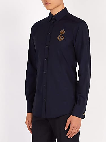 dolce & gabbana  logo-patch cotton shirt