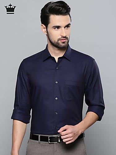 louis philippe men navy blue slim fit self design formal shirt