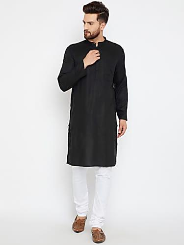 even men black solid straight kurta