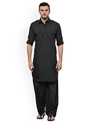 akavya black pathani kurta pyjama