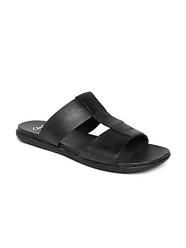 clarks men black leather sandals