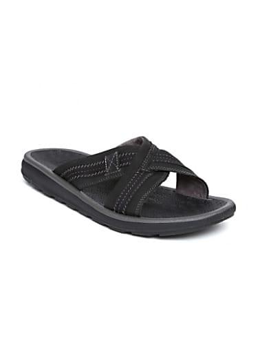 clarks men black nubuck leather sandals