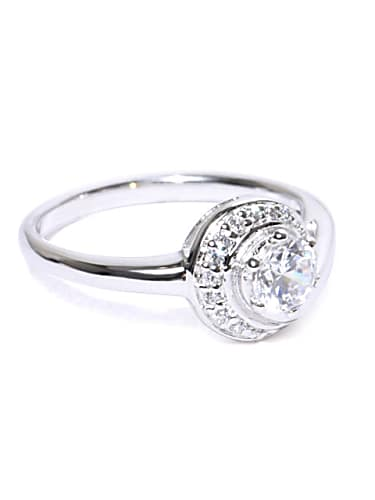peora rhodium-plated sterling silver cz stone-studded ring