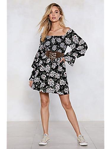 go for in my darkest flower off-the-shoulder dress