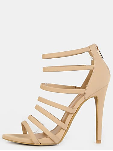 multi strap stiletto open toe heels nude