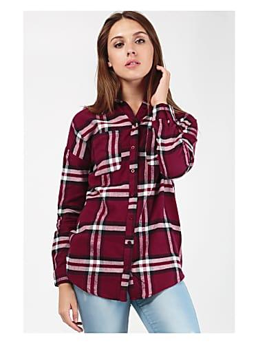 go for women's  burgundy rebel slogan check shirt