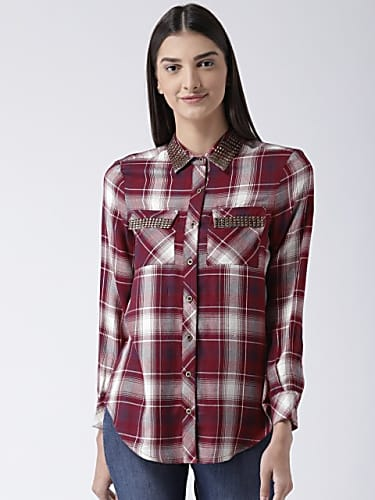 go for magzayra women maroon  white regular fit checked casual shirt