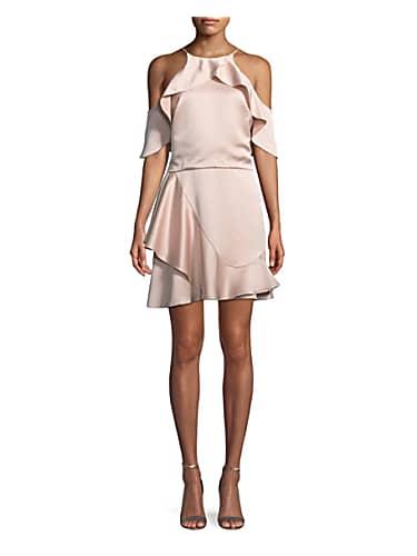 go for halston heritage flouncy cold-shoulder halter mini dress