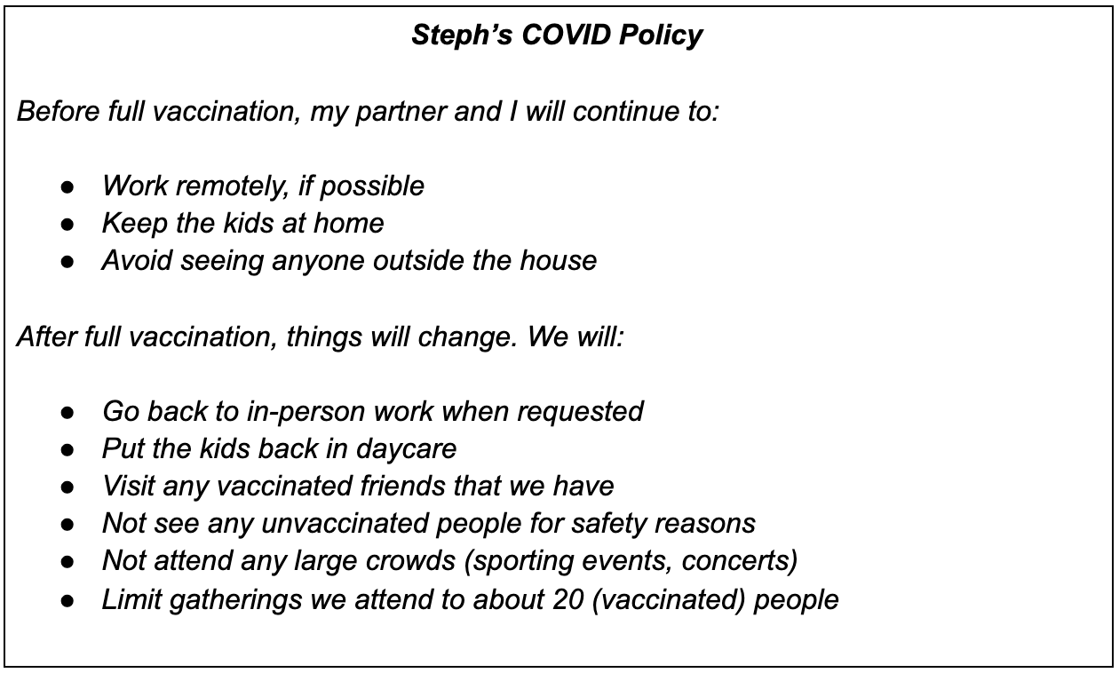 Steph's COVID Policy