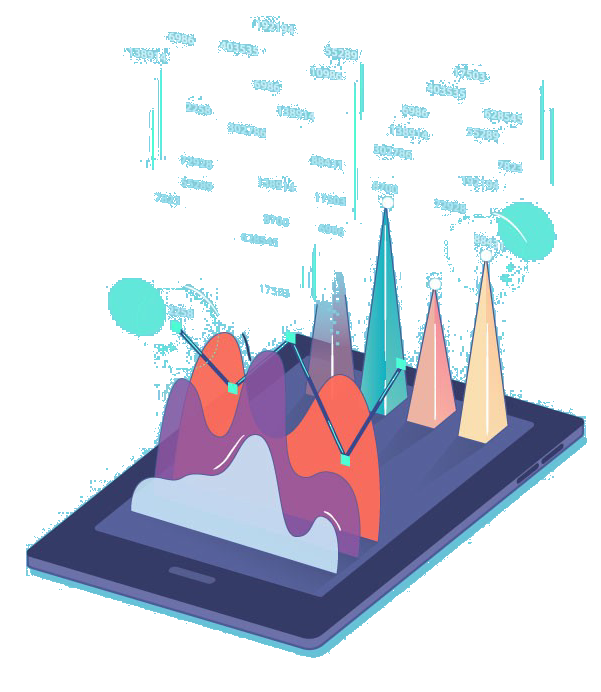 mobile phone with analytics visualization on screen
