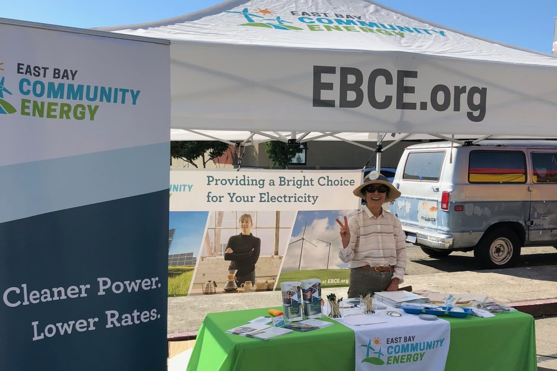 EBCE volunteering at an event booth