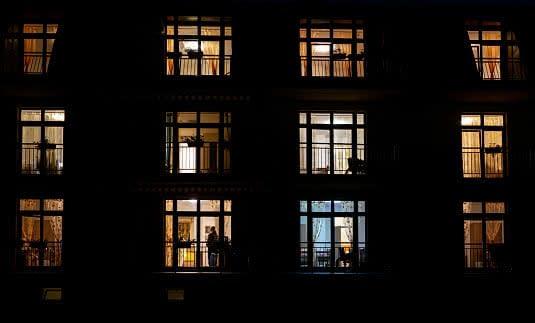 Illuminated windows at night