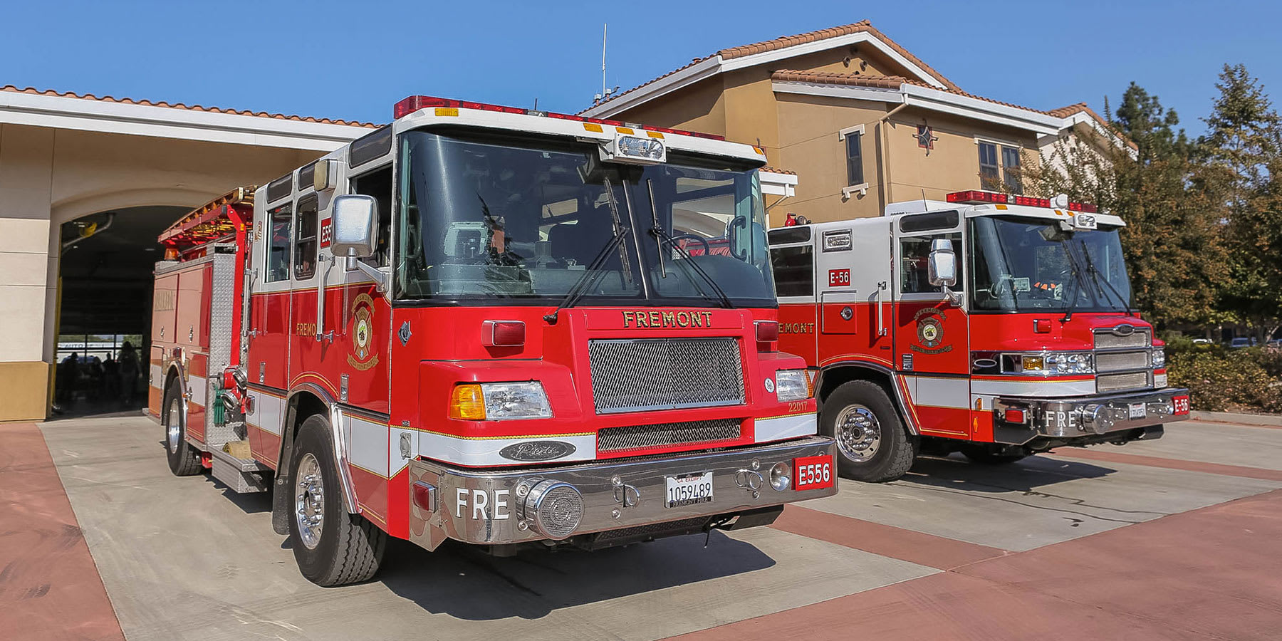 Freemont Fire Station, showing the firetrucks parked in front.
