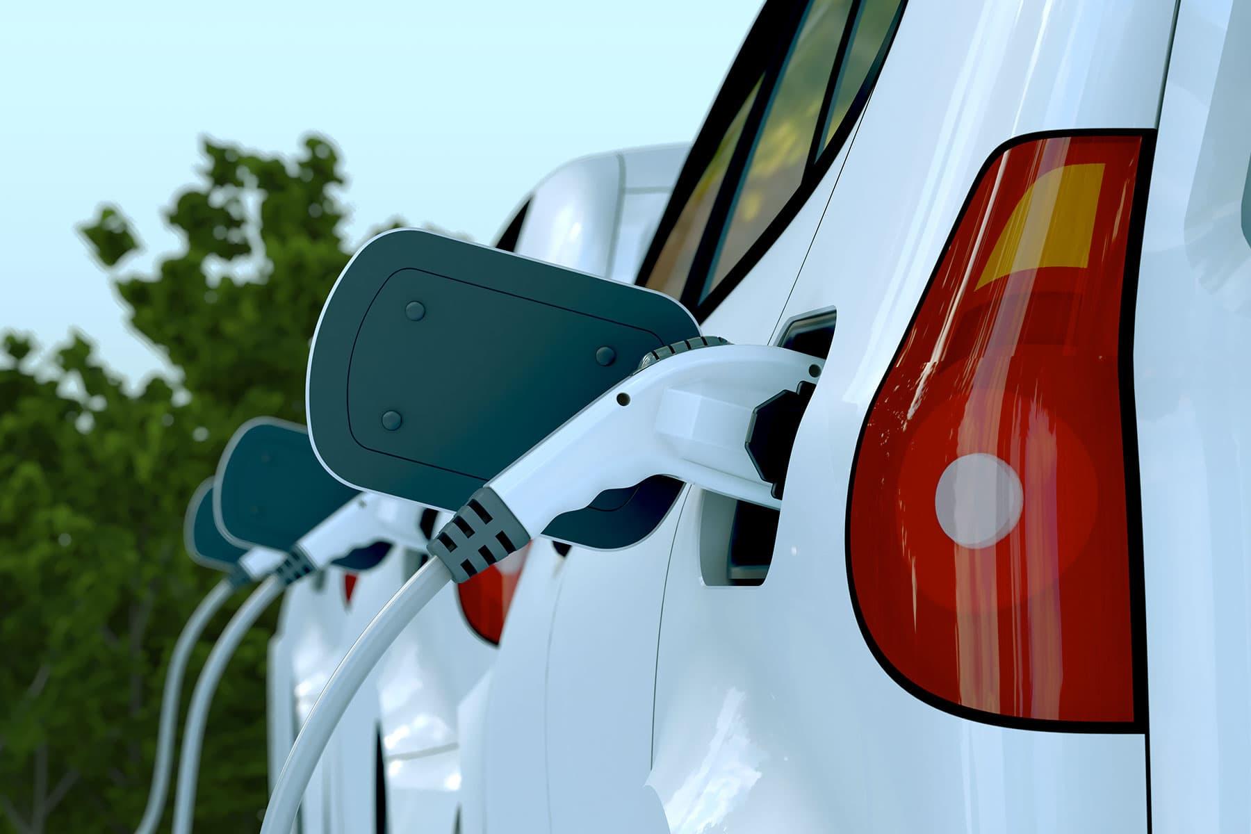 A fleet of EV cars charging