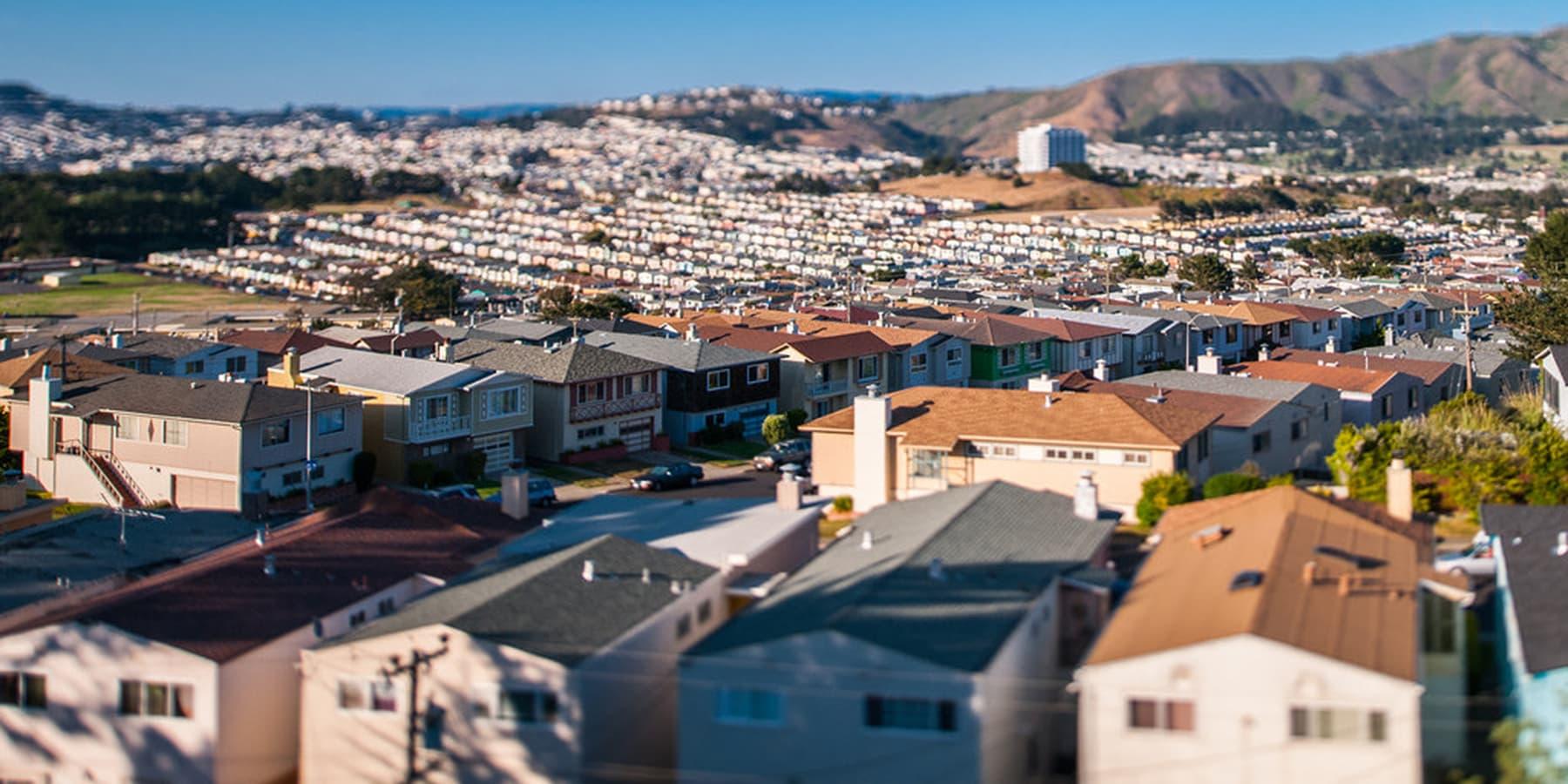 Aerial view of Daly City neighborhood