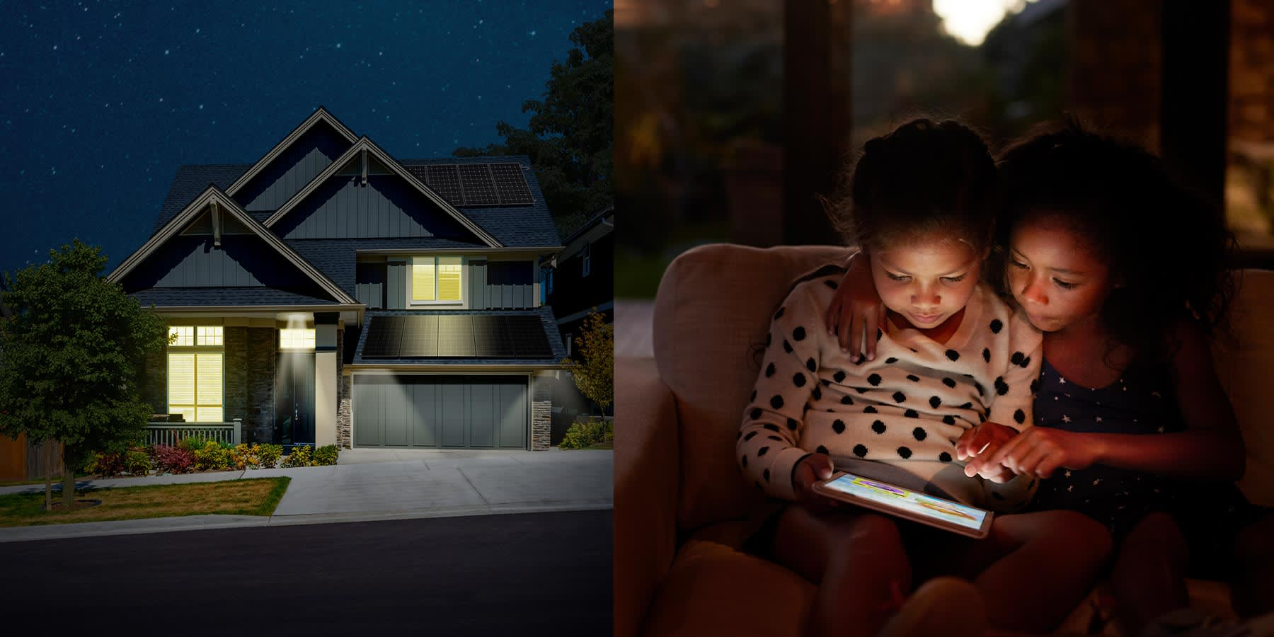 Two children on a laptop a dusk split with an outside view of a house with the lights on and solar panels on the roof.