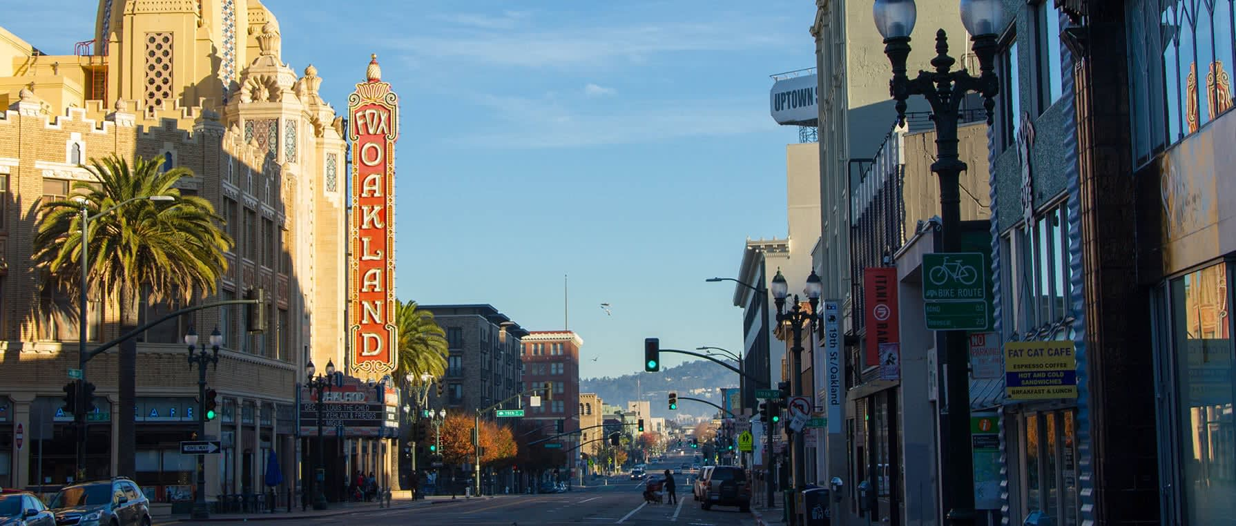 Photo of downtown Oakland with the Fox Oakland theater sign in view