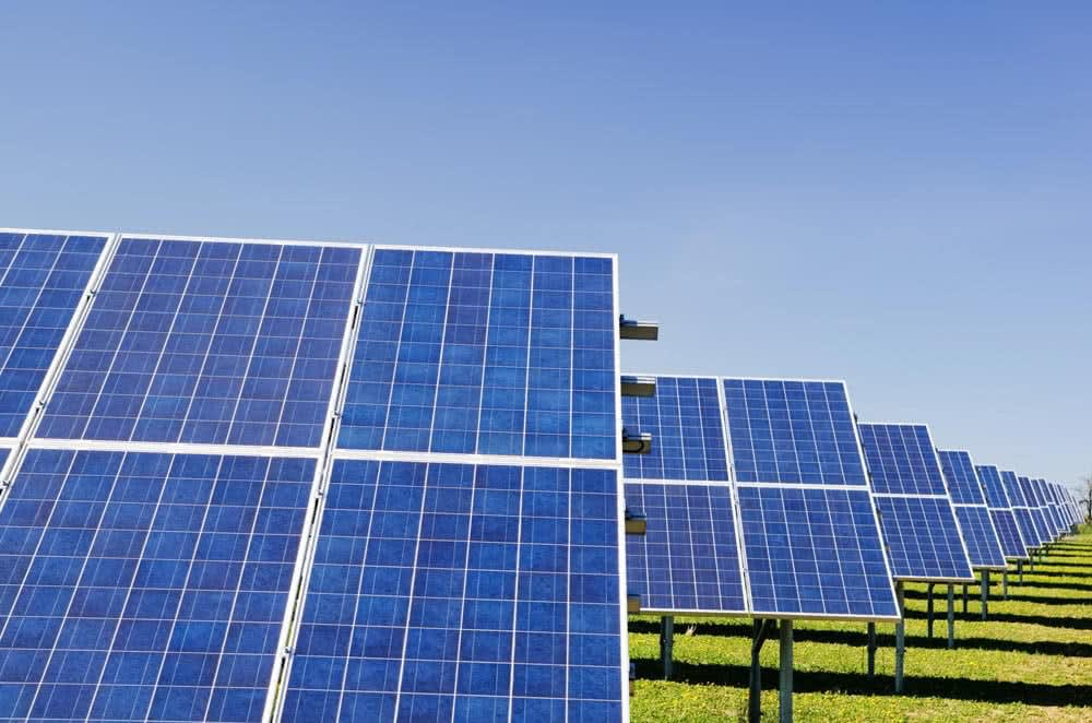 view of solar panels in a field