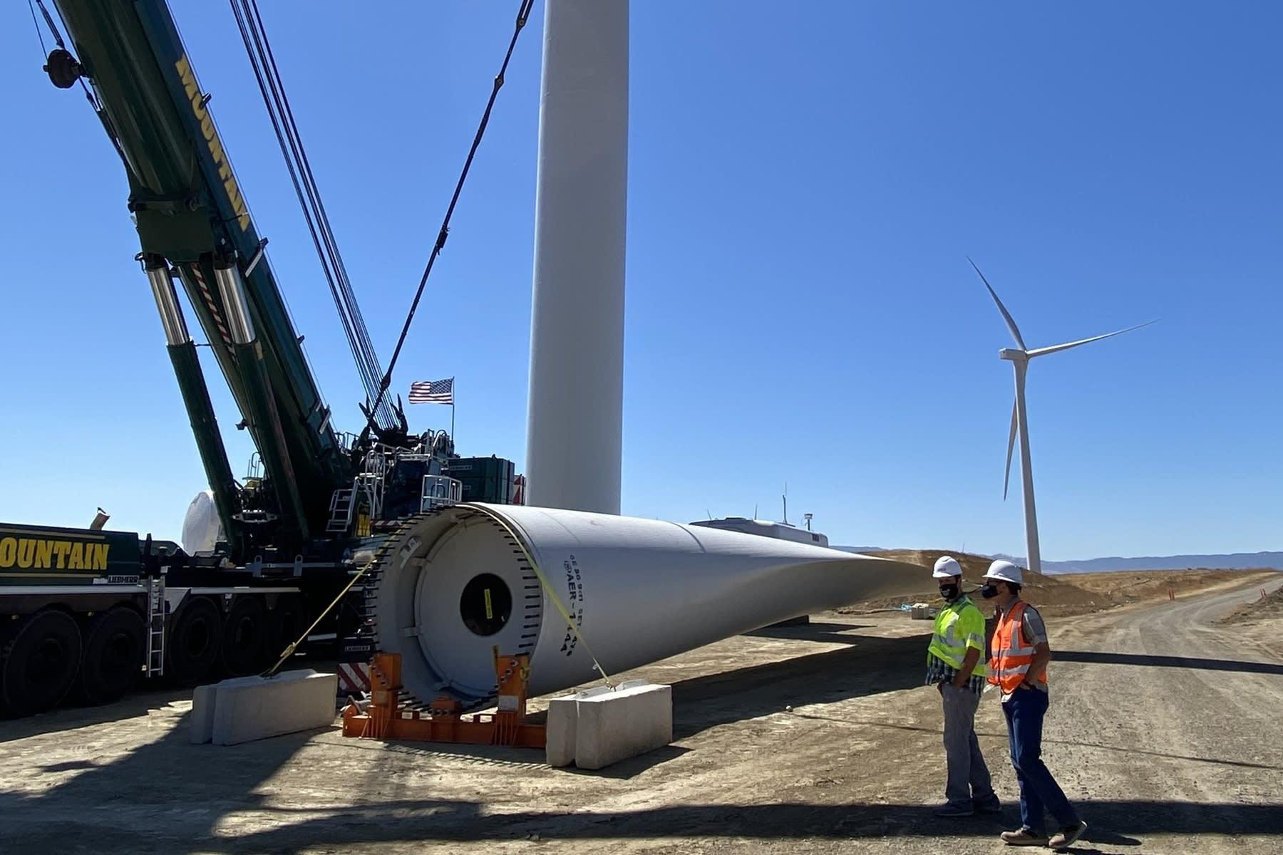 Photo of the development of EBCE's wind farm near Altamont Pass
