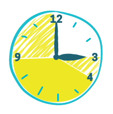 Illustration of clock highlighting 4-9pm, as well as 3-4pm, and 9pm-12am.