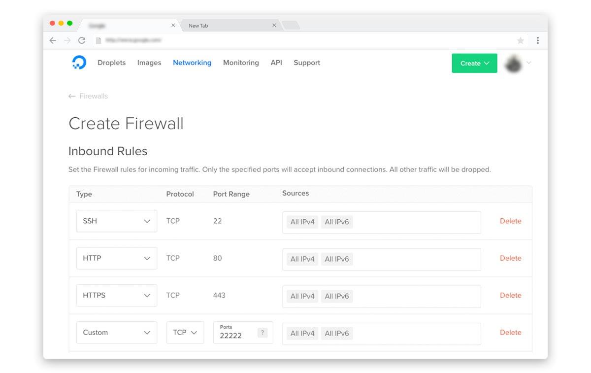DigitalOcean Cloud Firewalls configuration for WordPress
