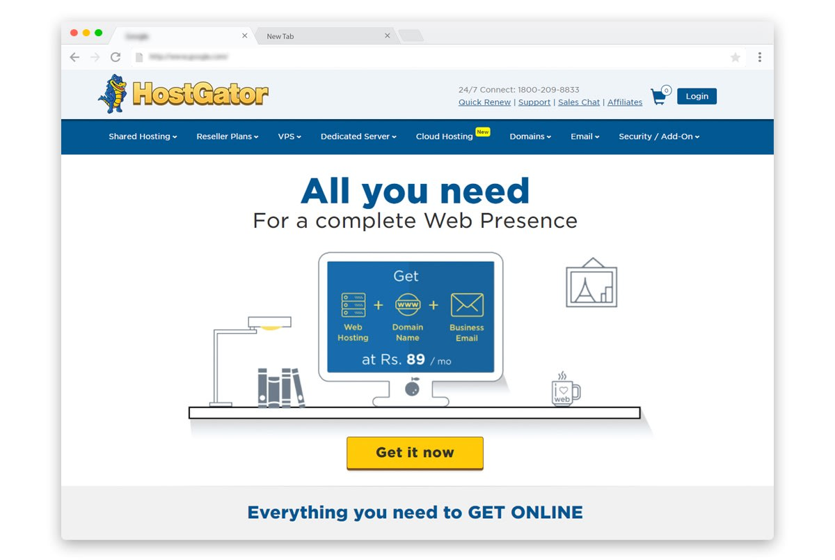 Hostgator India Web Hosting, Domain and Business Email at Rs 89