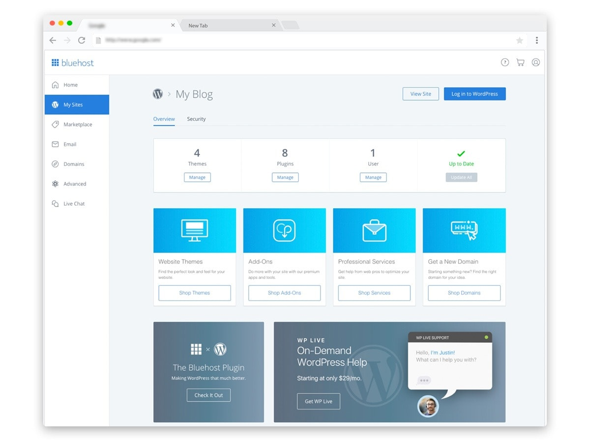 Bluehost WordPress Site Management