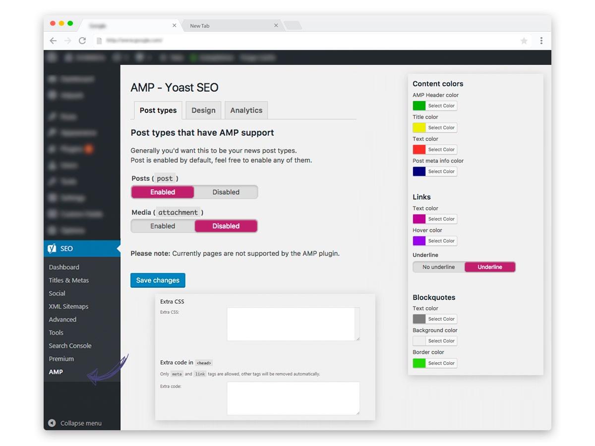 Yoast SEO configuration for WordPress AMP