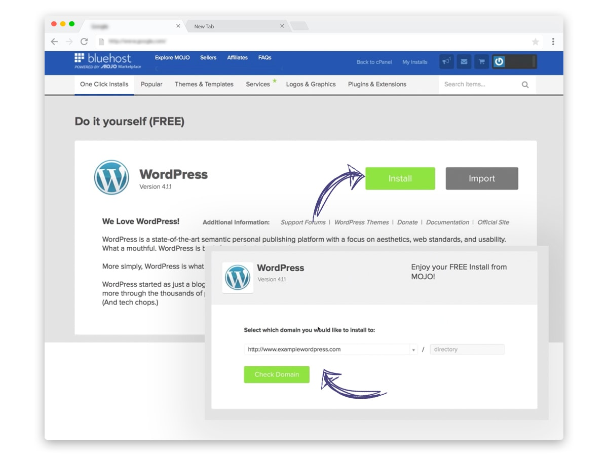 WordPress install guide on Bluehost hosting