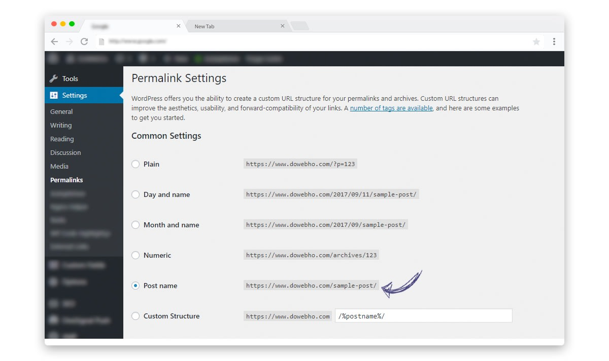 Adjust WordPress Permalink Settings