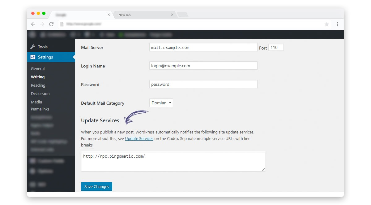 Update your WordPress Ping list