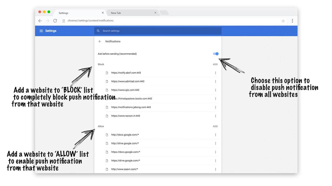 Chrome web browser push notification disable
