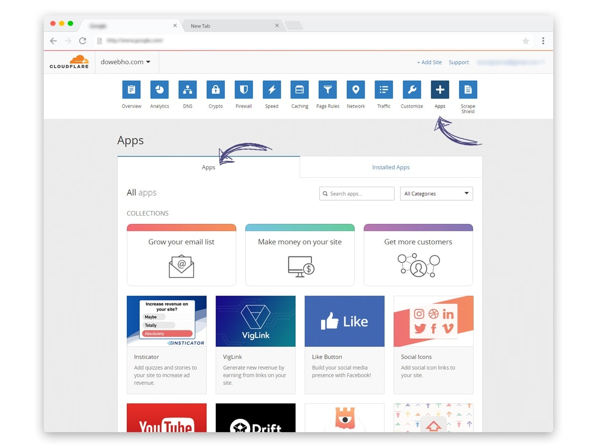 Cloudflare Apps how to install apps