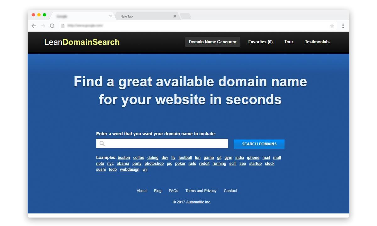 Lean domain search, automattic domain research tool