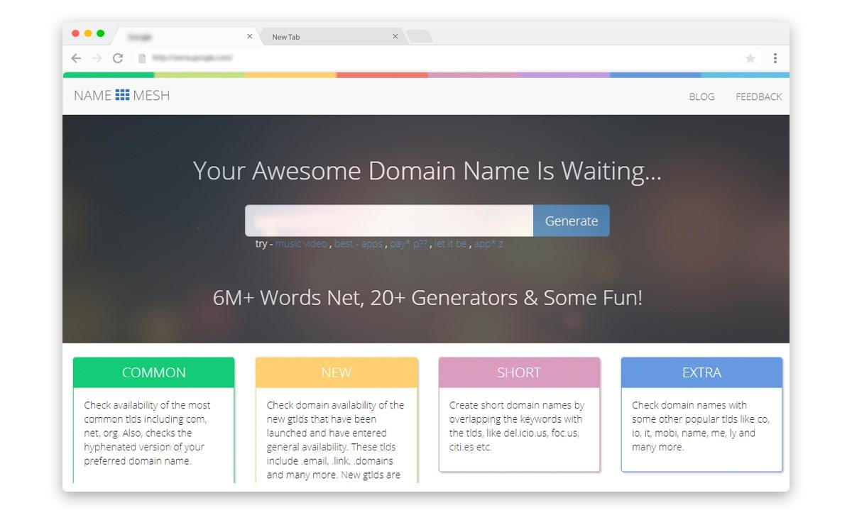Name Mesh free domain suggestion tool