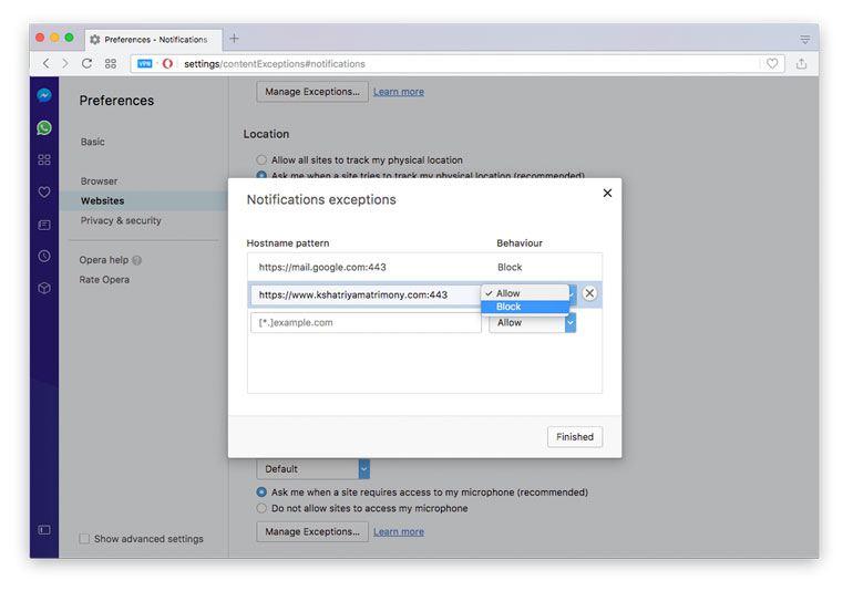 Opera browser push notification disable