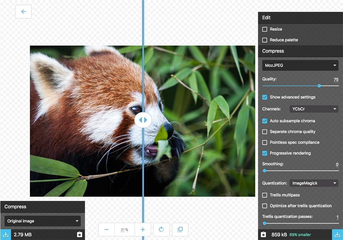 Squoosh.app Google Image Compression and Optimisation online tool