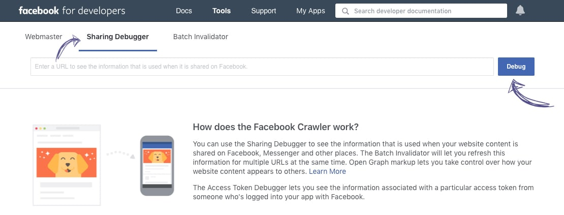 Clear shared website URL cache on Facebook via Sharing Debugger