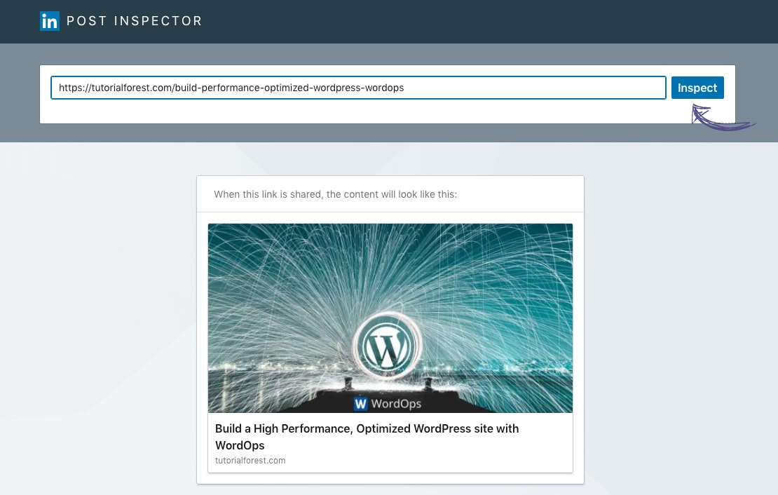Clear shared website URL cache on LinkedIn via Post Inspector tool