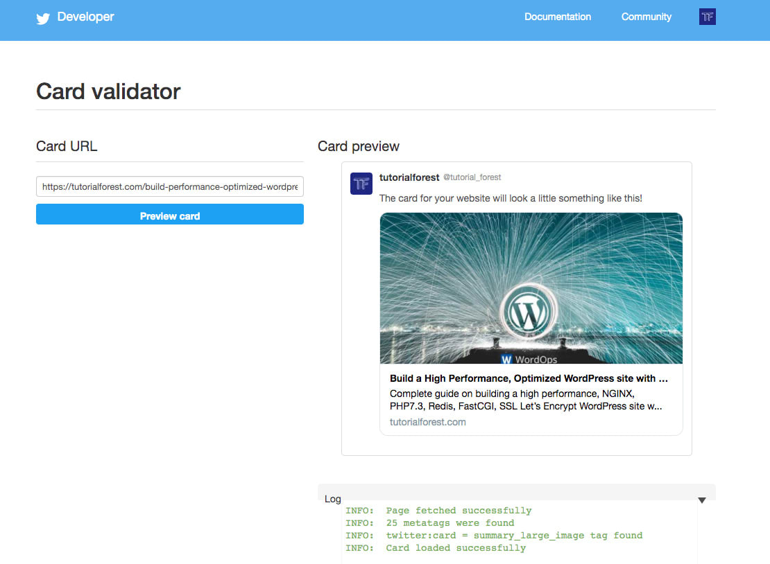 Twitter Card validator re-scraping and clearing cache
