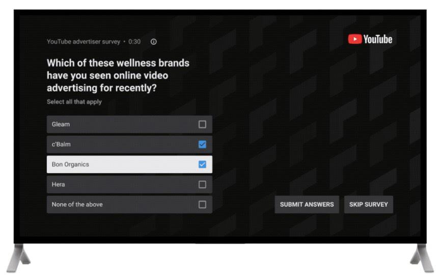 YouTube TV - Survey Ad Format