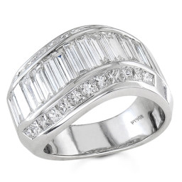 Wide Band Diamond Wedding Ring