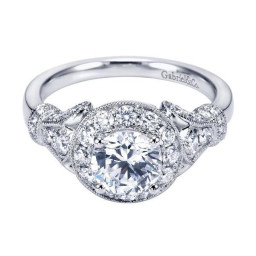 Halo Diamond Engagement Ring In K White Gold